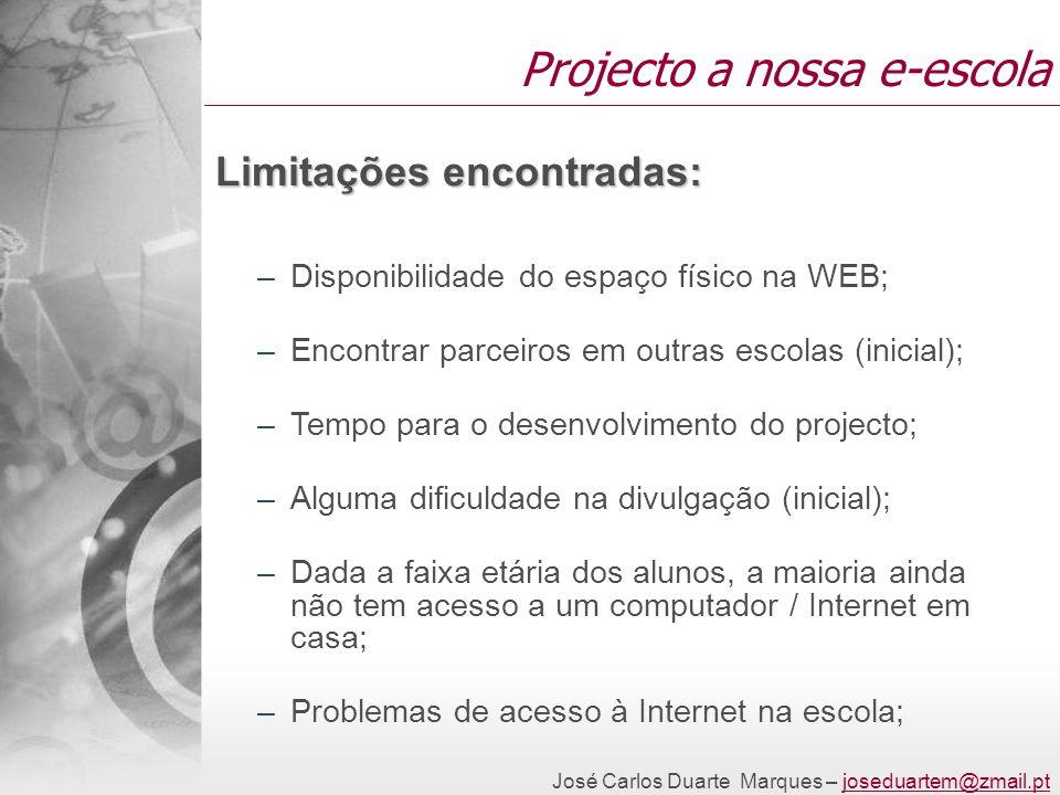 José Carlos Duarte Marques – joseduartem@zmail.ptjoseduartem@zmail.pt Projecto a nossa e-escola Limitações encontradas: –Disponibilidade do espaço fís