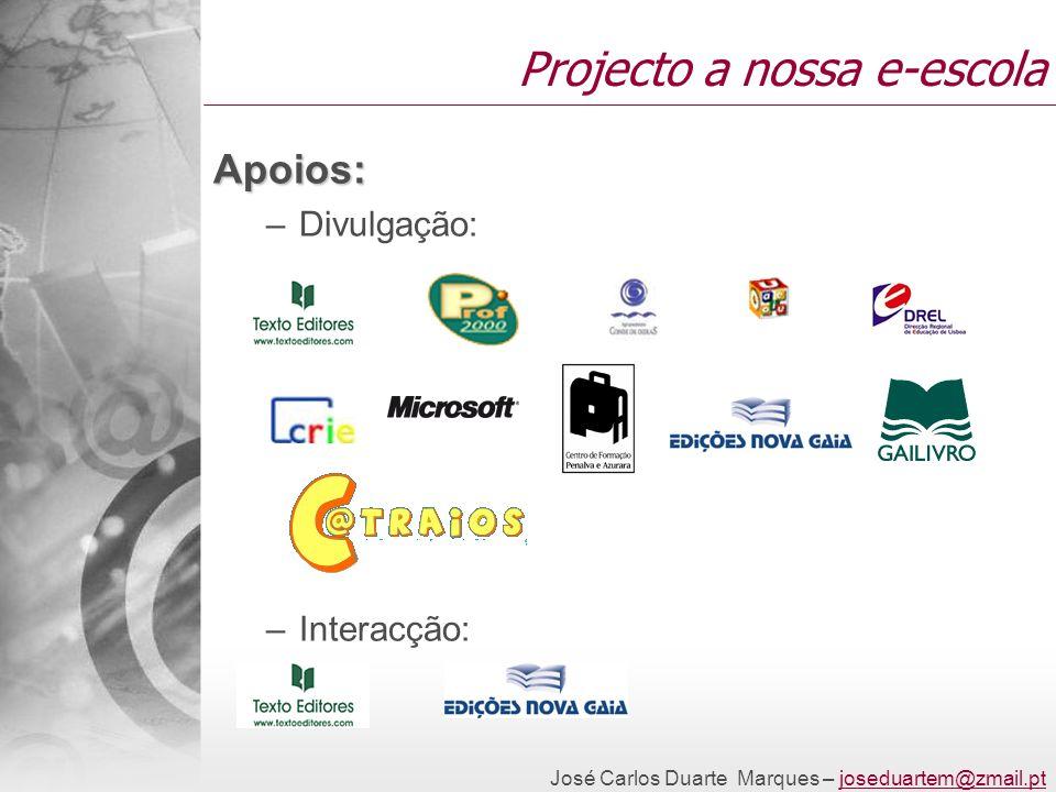 José Carlos Duarte Marques – joseduartem@zmail.ptjoseduartem@zmail.pt Projecto a nossa e-escola Apoios: –Divulgação: –Interacção: