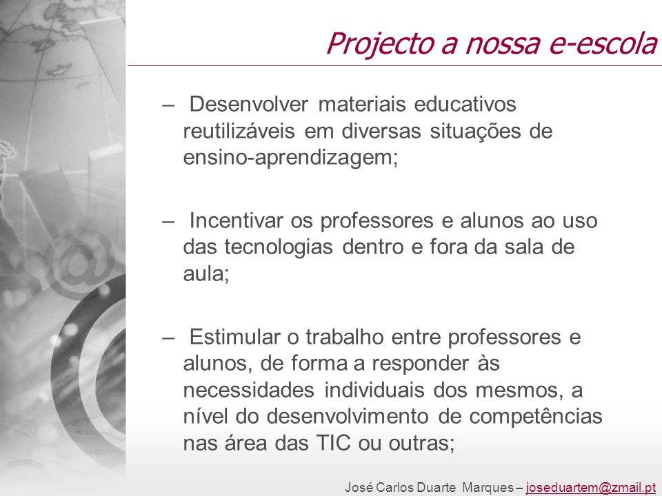 Projecto a nossa e-escola – Desenvolver materiais educativos reutilizáveis em diversas situações de ensino-aprendizagem; – Incentivar os professores e