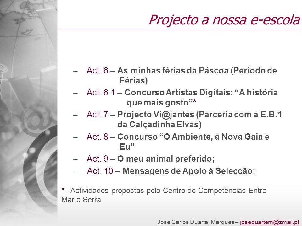 José Carlos Duarte Marques – joseduartem@zmail.ptjoseduartem@zmail.pt Projecto a nossa e-escola – Act. 6 – As minhas férias da Páscoa (Período de Féri