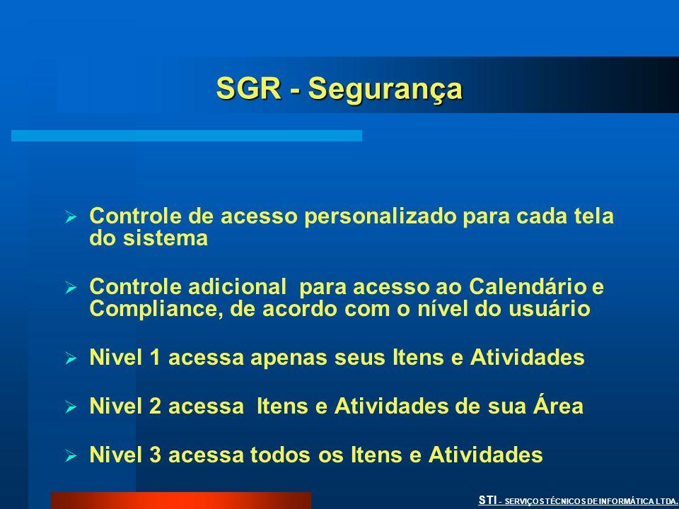 STI - SERVIÇOS TÉCNICOS DE INFORMÁTICA LTDA. SGR - Segurança Controle de acesso personalizado para cada tela do sistema Controle adicional para acesso
