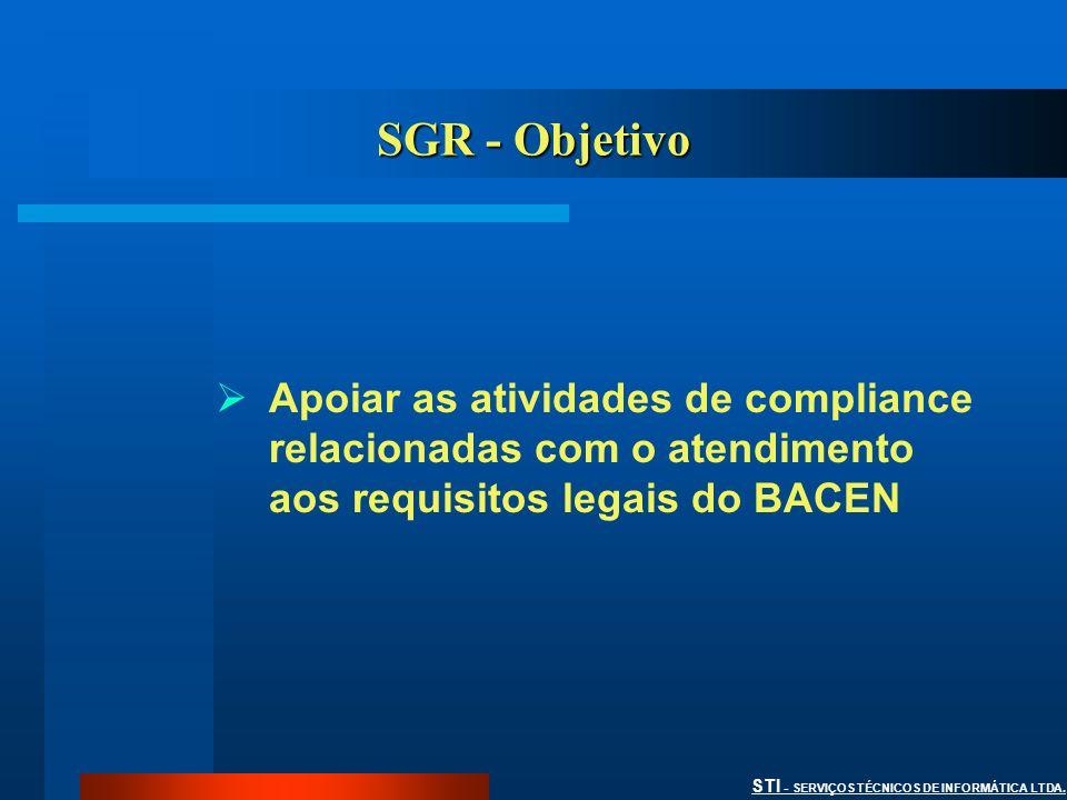 STI - SERVIÇOS TÉCNICOS DE INFORMÁTICA LTDA. SGR - Objetivo Apoiar as atividades de compliance relacionadas com o atendimento aos requisitos legais do