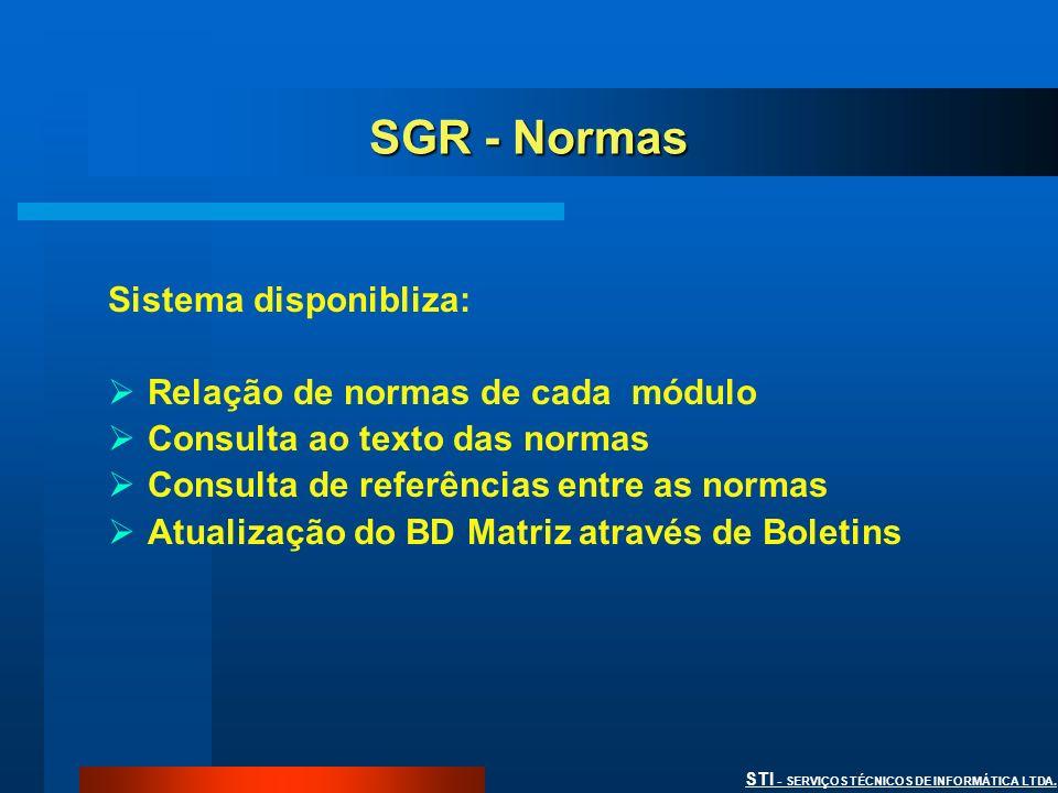 STI - SERVIÇOS TÉCNICOS DE INFORMÁTICA LTDA. SGR - Normas Sistema disponibliza: Relação de normas de cada módulo Consulta ao texto das normas Consulta