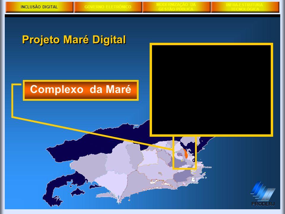 GOVERNO ELETRÔNICO MODERNIZAÇÃO DA GESTÃO PÚBLICA PRODERJ INFRA-ESTRUTURA TECNOLÓGICA Complexo da Maré INCLUSÃO DIGITAL Projeto Maré Digital