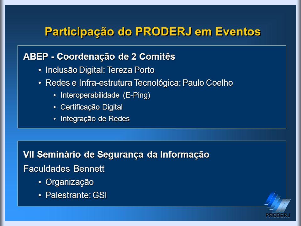 Participação do PRODERJ em Eventos ABEP - Coordenação de 2 Comitês Inclusão Digital: Tereza PortoInclusão Digital: Tereza Porto Redes e Infra-estrutur