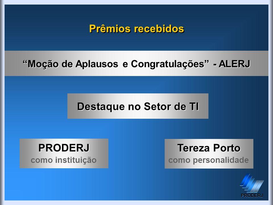 Prêmios recebidos Moção de Aplausos e Congratulações - ALERJ Destaque no Setor de TI PRODERJ como instituição Tereza Porto como personalidade PRODERJ