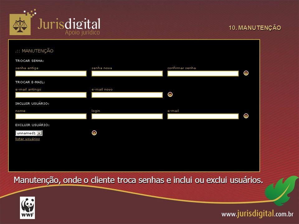 10. MANUTENÇÃO Manutenção, onde o cliente troca senhas e inclui ou exclui usuários.