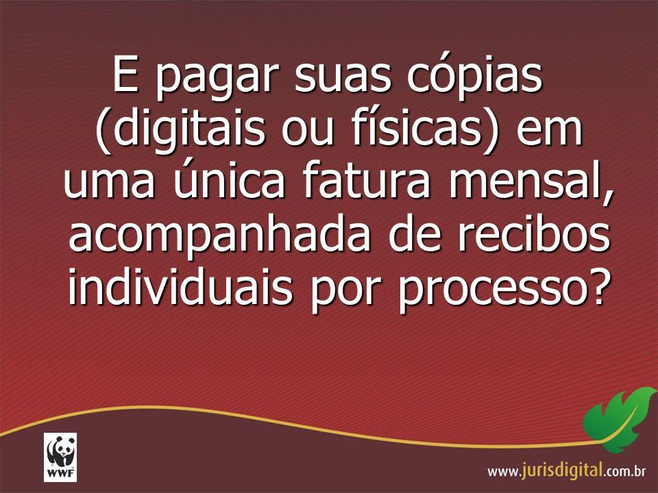 E pagar suas cópias (digitais ou físicas) em uma única fatura mensal, acompanhada de recibos individuais por processo?