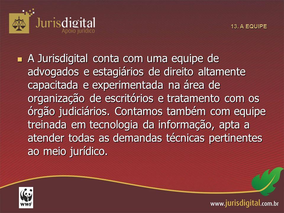 13. A EQUIPE A Jurisdigital conta com uma equipe de advogados e estagiários de direito altamente capacitada e experimentada na área de organização de