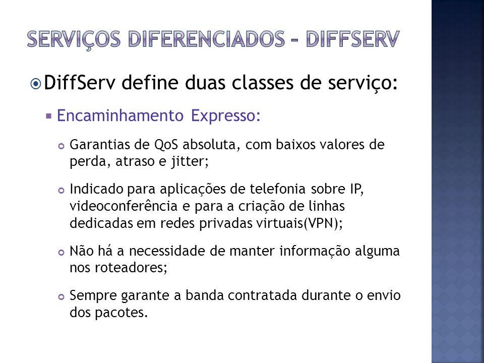 DiffServ define duas classes de serviço: Encaminhamento Expresso: Garantias de QoS absoluta, com baixos valores de perda, atraso e jitter; Indicado pa