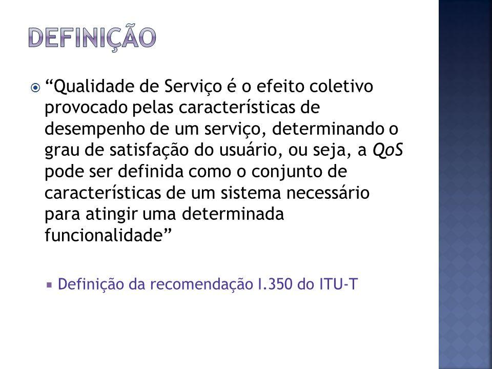 Qualidade de Serviço é o efeito coletivo provocado pelas características de desempenho de um serviço, determinando o grau de satisfação do usuário, ou