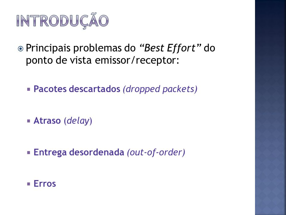 Principais problemas do Best Effort do ponto de vista emissor/receptor: Pacotes descartados (dropped packets) Atraso (delay) Entrega desordenada (out-