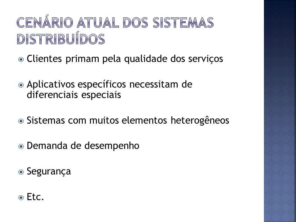 Clientes primam pela qualidade dos serviços Aplicativos específicos necessitam de diferenciais especiais Sistemas com muitos elementos heterogêneos De