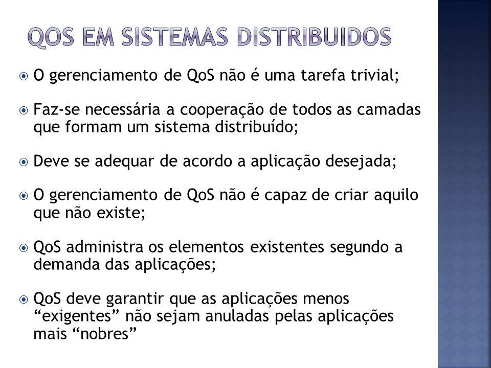 O gerenciamento de QoS não é uma tarefa trivial; Faz-se necessária a cooperação de todos as camadas que formam um sistema distribuído; Deve se adequar