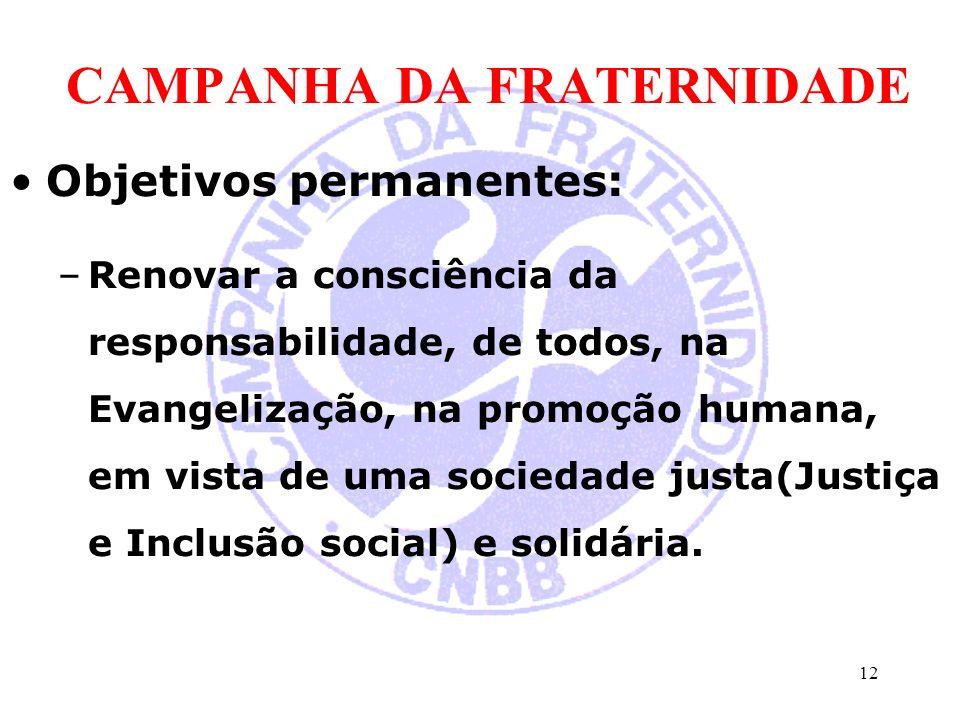 CAMPANHA DA FRATERNIDADE Objetivos permanentes: –Renovar a consciência da responsabilidade, de todos, na Evangelização, na promoção humana, em vista de uma sociedade justa(Justiça e Inclusão social) e solidária.