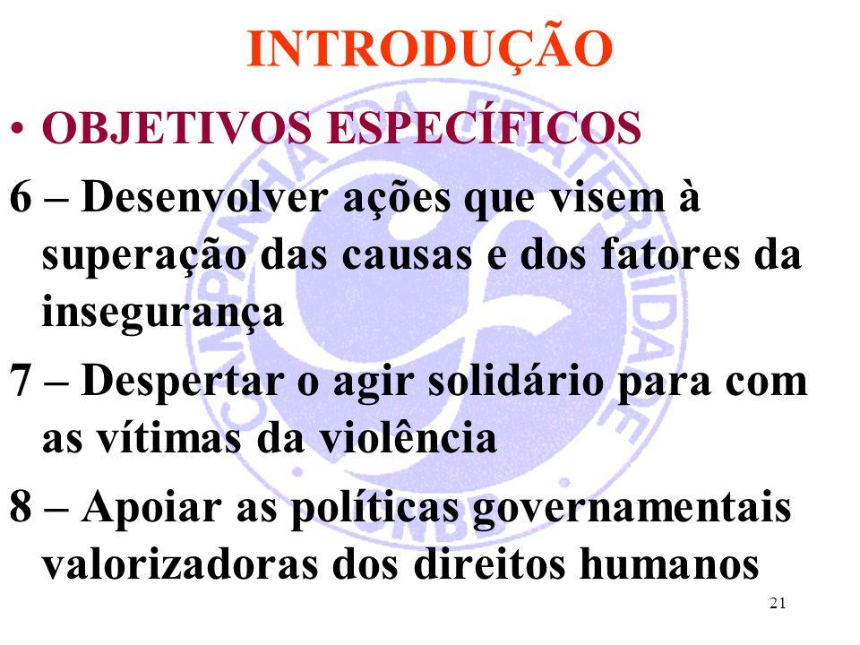 INTRODUÇÃO OBJETIVOS ESPECÍFICOS 6 – Desenvolver ações que visem à superação das causas e dos fatores da insegurança 7 – Despertar o agir solidário para com as vítimas da violência 8 – Apoiar as políticas governamentais valorizadoras dos direitos humanos 21
