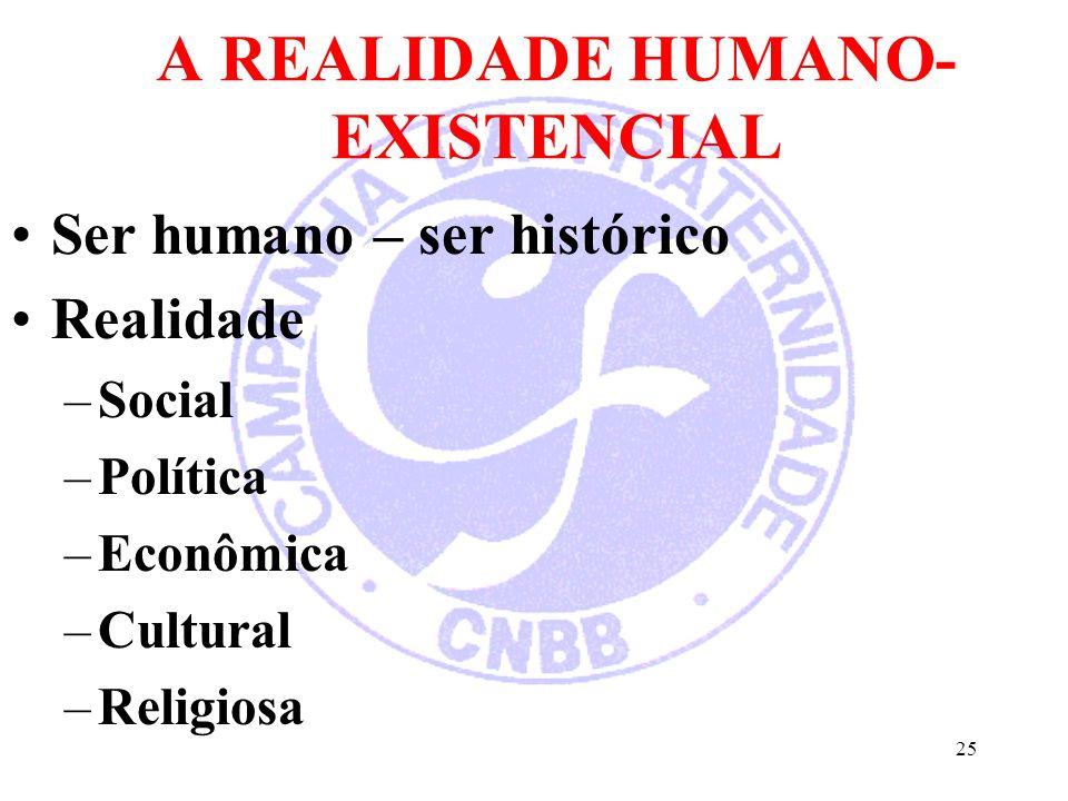 A REALIDADE HUMANO- EXISTENCIAL Ser humano – ser histórico Realidade –Social –Política –Econômica –Cultural –Religiosa 25