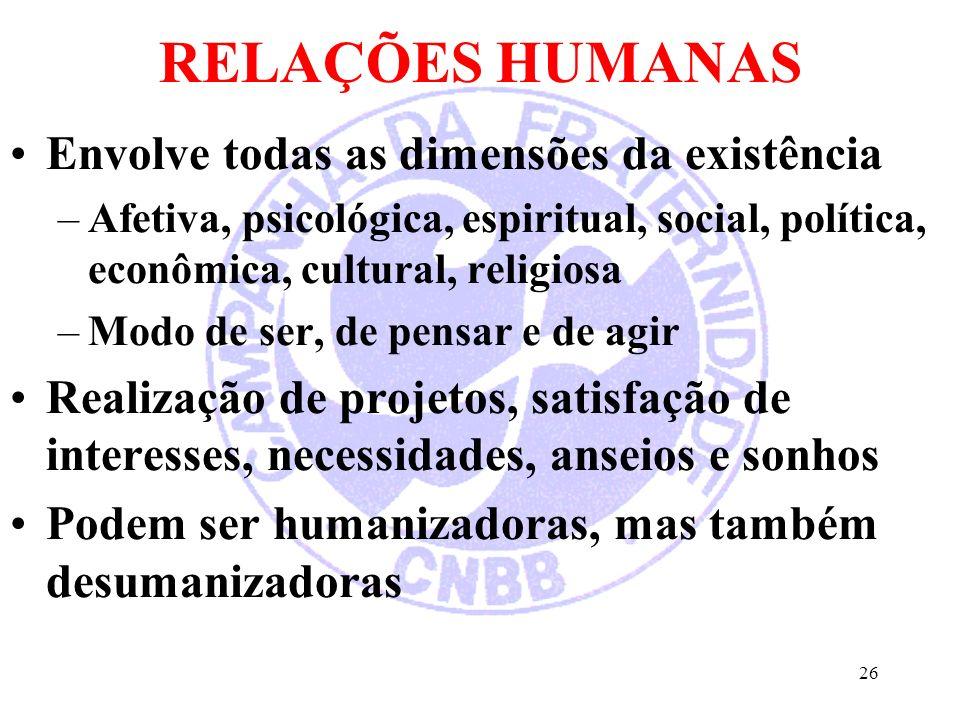 RELAÇÕES HUMANAS Envolve todas as dimensões da existência –Afetiva, psicológica, espiritual, social, política, econômica, cultural, religiosa –Modo de