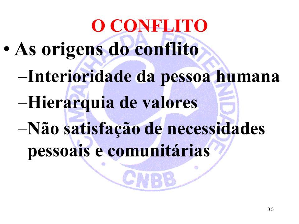 O CONFLITO As origens do conflito –Interioridade da pessoa humana –Hierarquia de valores –Não satisfação de necessidades pessoais e comunitárias 30