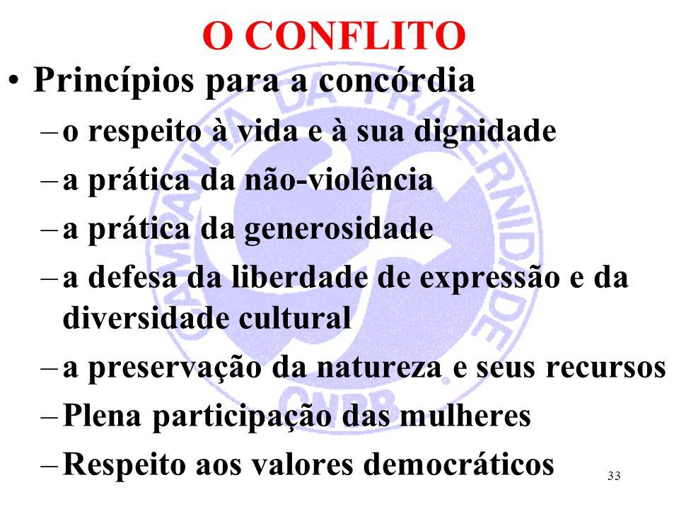 O CONFLITO Princípios para a concórdia –o respeito à vida e à sua dignidade –a prática da não-violência –a prática da generosidade –a defesa da liberdade de expressão e da diversidade cultural –a preservação da natureza e seus recursos –Plena participação das mulheres –Respeito aos valores democráticos 33