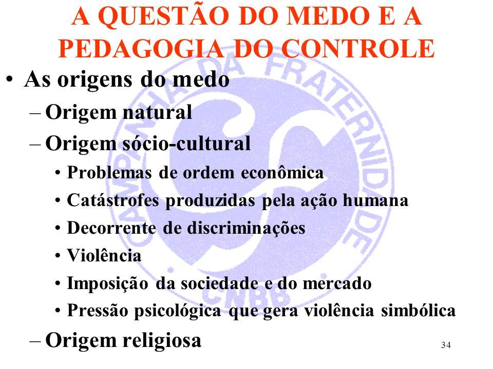 34 A QUESTÃO DO MEDO E A PEDAGOGIA DO CONTROLE As origens do medo –Origem natural –Origem sócio-cultural Problemas de ordem econômica Catástrofes prod