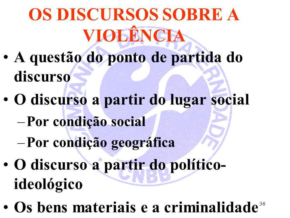 36 OS DISCURSOS SOBRE A VIOLÊNCIA A questão do ponto de partida do discurso O discurso a partir do lugar social –Por condição social –Por condição geo
