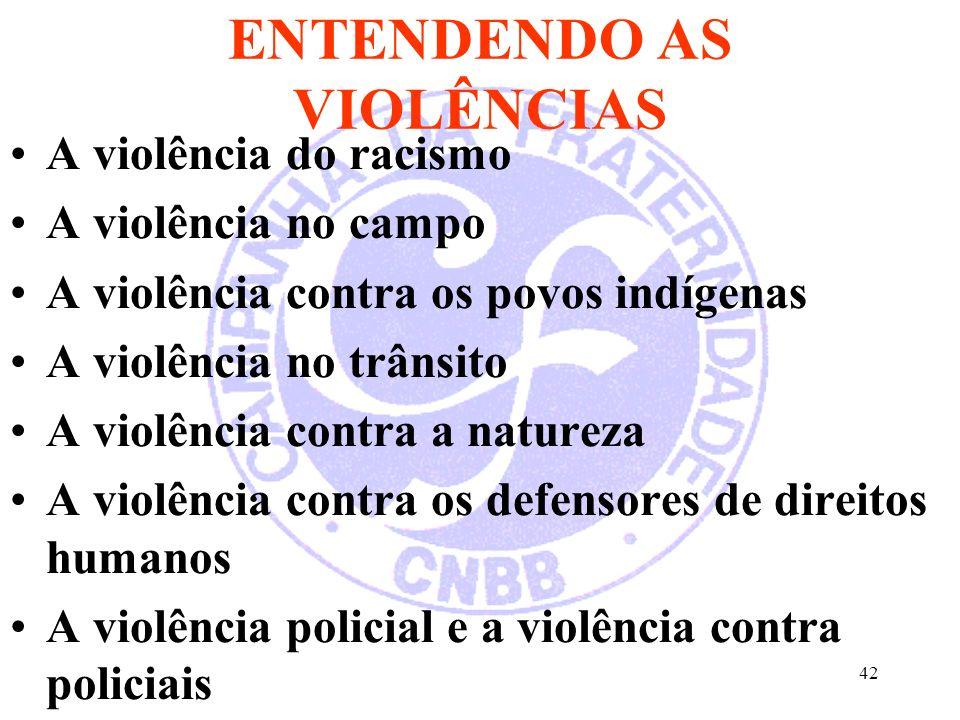 42 ENTENDENDO AS VIOLÊNCIAS A violência do racismo A violência no campo A violência contra os povos indígenas A violência no trânsito A violência contra a natureza A violência contra os defensores de direitos humanos A violência policial e a violência contra policiais