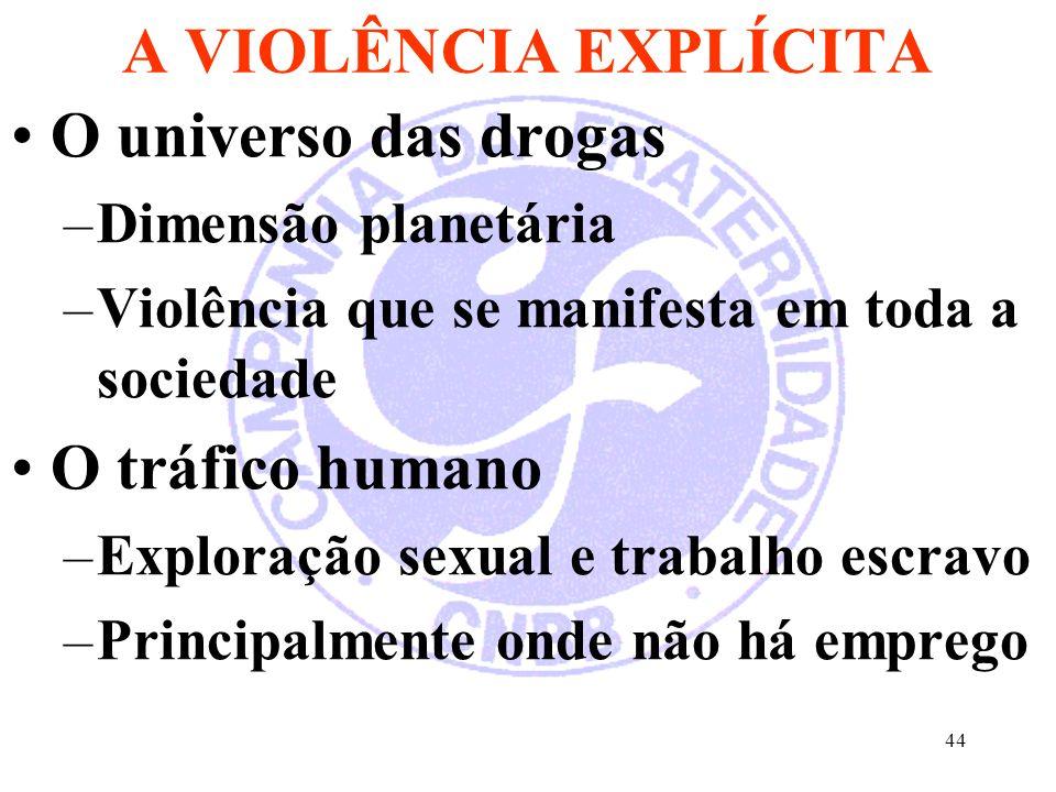 44 A VIOLÊNCIA EXPLÍCITA O universo das drogas –Dimensão planetária –Violência que se manifesta em toda a sociedade O tráfico humano –Exploração sexua