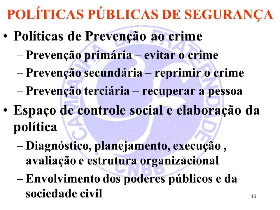 46 POLÍTICAS PÚBLICAS DE SEGURANÇA Políticas de Prevenção ao crime –Prevenção primária – evitar o crime –Prevenção secundária – reprimir o crime –Prev