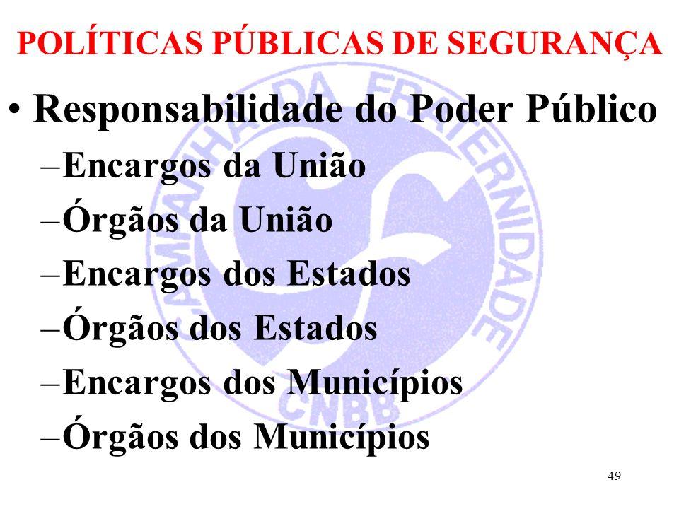 POLÍTICAS PÚBLICAS DE SEGURANÇA Responsabilidade do Poder Público –Encargos da União –Órgãos da União –Encargos dos Estados –Órgãos dos Estados –Encargos dos Municípios –Órgãos dos Municípios 49