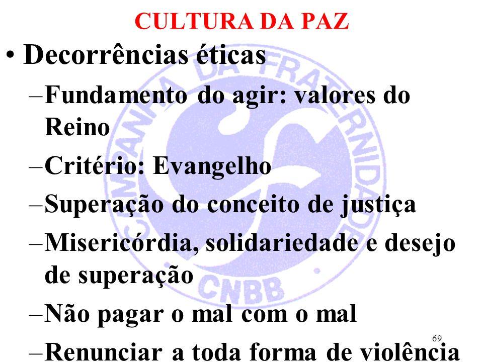 CULTURA DA PAZ Decorrências éticas –Fundamento do agir: valores do Reino –Critério: Evangelho –Superação do conceito de justiça –Misericórdia, solidar
