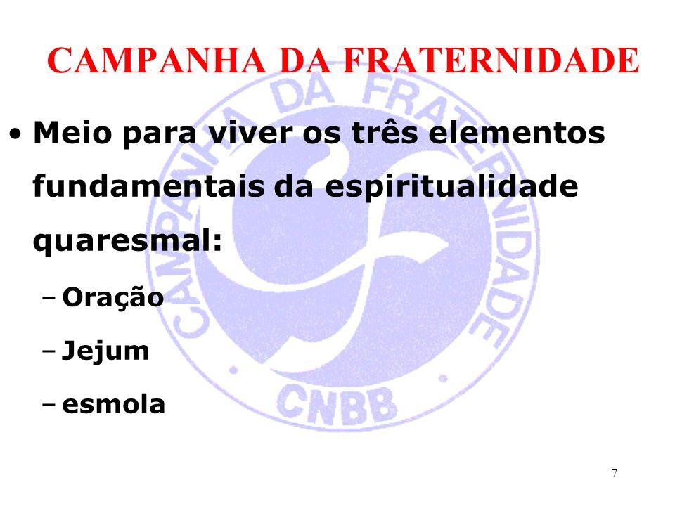 CAMPANHA DA FRATERNIDADE Meio para viver os três elementos fundamentais da espiritualidade quaresmal: –Oração –Jejum –esmola 7