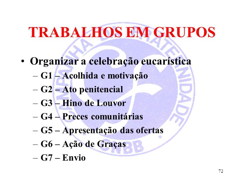 TRABALHOS EM GRUPOS Organizar a celebração eucarística –G1 – Acolhida e motivação –G2 – Ato penitencial –G3 – Hino de Louvor –G4 – Preces comunitárias –G5 – Apresentação das ofertas –G6 – Ação de Graças –G7 – Envio 72