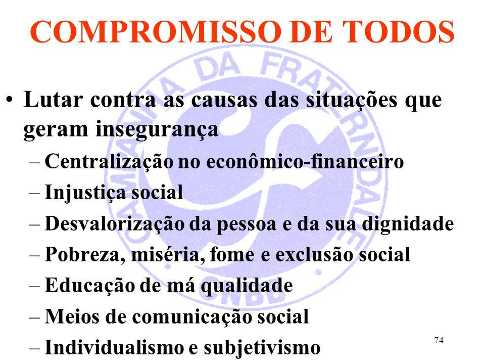 74 COMPROMISSO DE TODOS Lutar contra as causas das situações que geram insegurança –Centralização no econômico-financeiro –Injustiça social –Desvalori