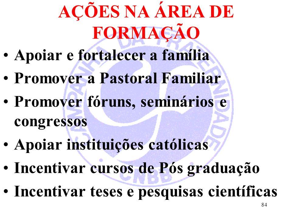 AÇÕES NA ÁREA DE FORMAÇÃO Apoiar e fortalecer a família Promover a Pastoral Familiar Promover fóruns, seminários e congressos Apoiar instituições católicas Incentivar cursos de Pós graduação Incentivar teses e pesquisas científicas 84