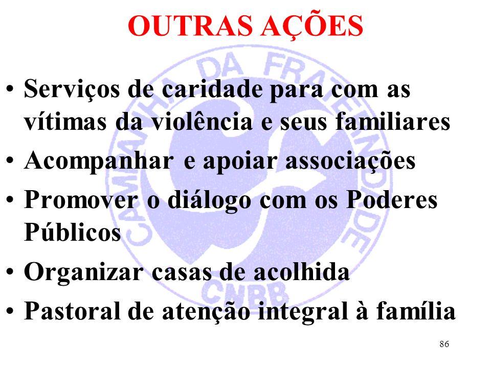 OUTRAS AÇÕES Serviços de caridade para com as vítimas da violência e seus familiares Acompanhar e apoiar associações Promover o diálogo com os Poderes