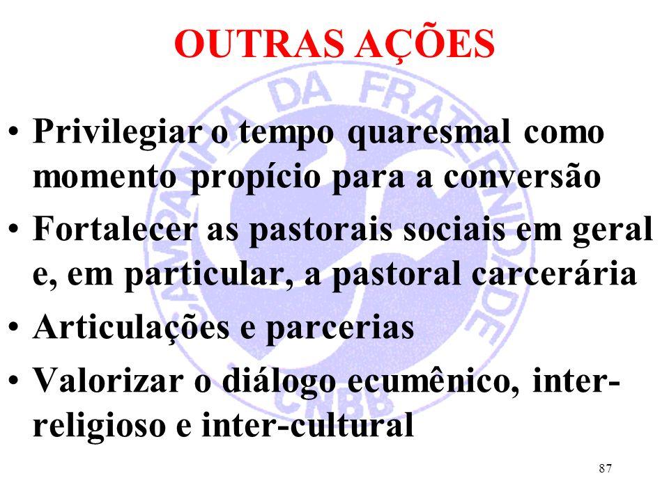 OUTRAS AÇÕES Privilegiar o tempo quaresmal como momento propício para a conversão Fortalecer as pastorais sociais em geral e, em particular, a pastoral carcerária Articulações e parcerias Valorizar o diálogo ecumênico, inter- religioso e inter-cultural 87