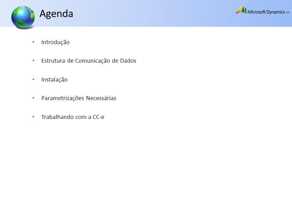 Agenda Introdução Estrutura de Comunicação de Dados Instalação Parametrizações Necessárias Trabalhando com a CC-e
