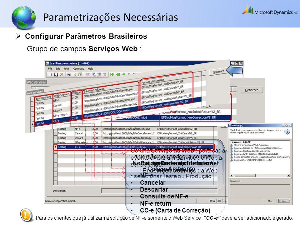 Parametrizações Necessárias Configurar Parâmetros Brasileiros Coluna Ambiente : selecionar Teste ou Produção Grupo de campos Serviços Web : Coluna Ser