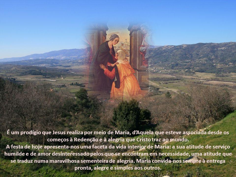 Nossa Senhora entrou em casa de Zacarias e saudou sua prima. E aconteceu que, quando Isabel ouviu a saudação de Maria, a criança saltou no seu seio, e