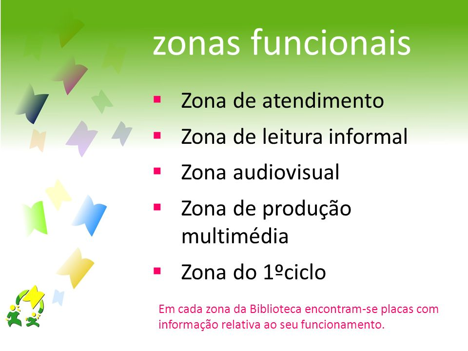 Em cada zona da Biblioteca encontram-se placas com informação relativa ao seu funcionamento. Zona de atendimento Zona de leitura informal Zona audiovi