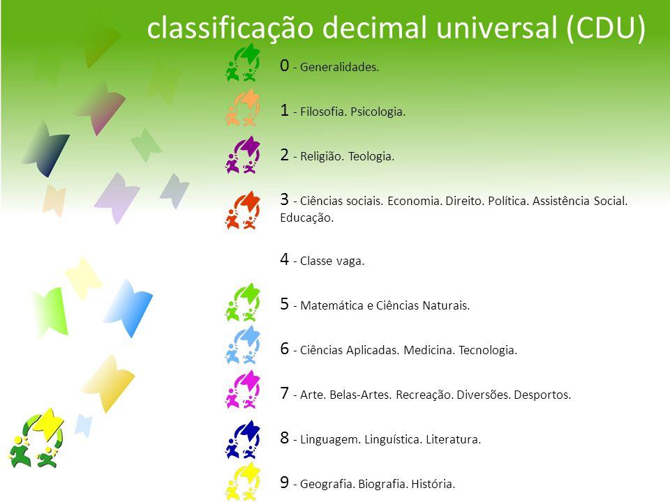classificação decimal universal (CDU) 0 - Generalidades. 1 - Filosofia. Psicologia. 2 - Religião. Teologia. 3 - Ciências sociais. Economia. Direito. P