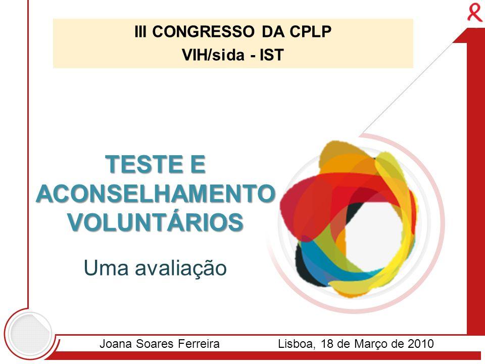 III CONGRESSO DA CPLP VIH/sida - IST TESTE E ACONSELHAMENTO VOLUNTÁRIOS Uma avaliação Joana Soares FerreiraLisboa, 18 de Março de 2010