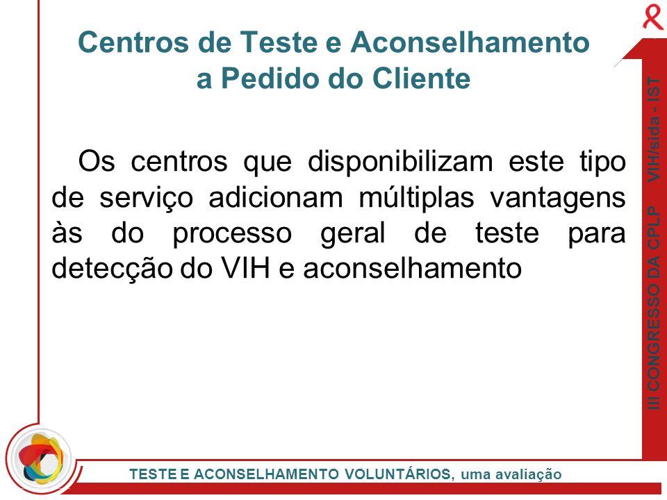 III CONGRESSO DA CPLP VIH/sida - IST TESTE E ACONSELHAMENTO VOLUNTÁRIOS, uma avaliação Os centros que disponibilizam este tipo de serviço adicionam mú