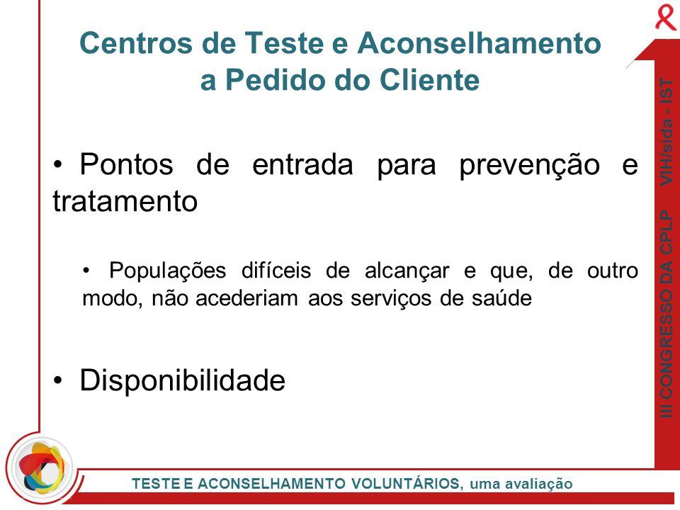 III CONGRESSO DA CPLP VIH/sida - IST TESTE E ACONSELHAMENTO VOLUNTÁRIOS, uma avaliação Pontos de entrada para prevenção e tratamento Populações difíce