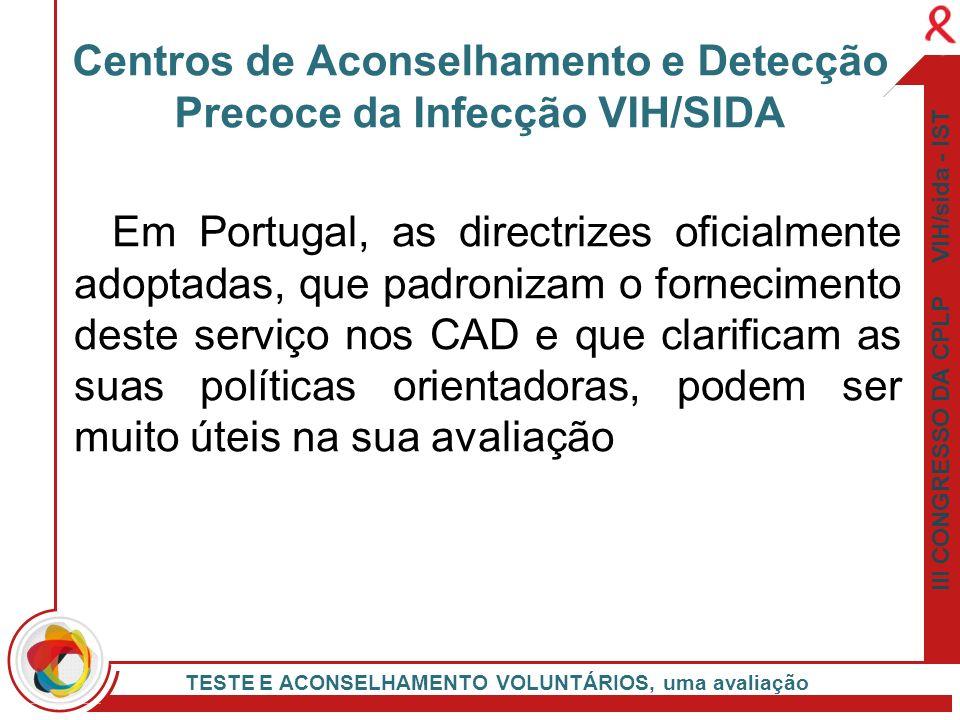 III CONGRESSO DA CPLP VIH/sida - IST TESTE E ACONSELHAMENTO VOLUNTÁRIOS, uma avaliação Em Portugal, as directrizes oficialmente adoptadas, que padroni