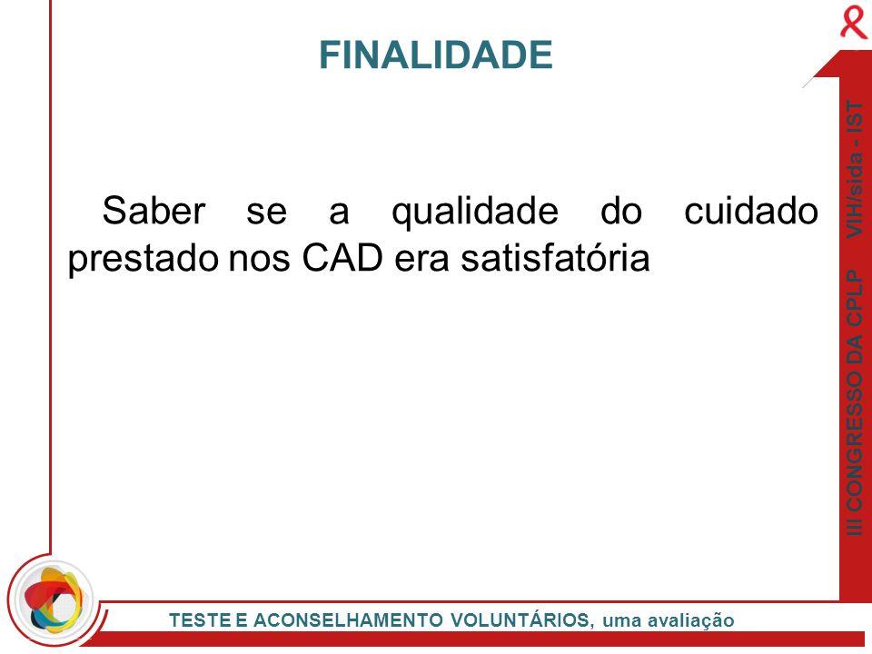III CONGRESSO DA CPLP VIH/sida - IST TESTE E ACONSELHAMENTO VOLUNTÁRIOS, uma avaliação Saber se a qualidade do cuidado prestado nos CAD era satisfatór