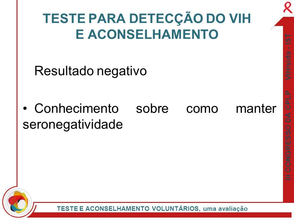 III CONGRESSO DA CPLP VIH/sida - IST TESTE E ACONSELHAMENTO VOLUNTÁRIOS, uma avaliação Resultado negativo Conhecimento sobre como manter seronegativid