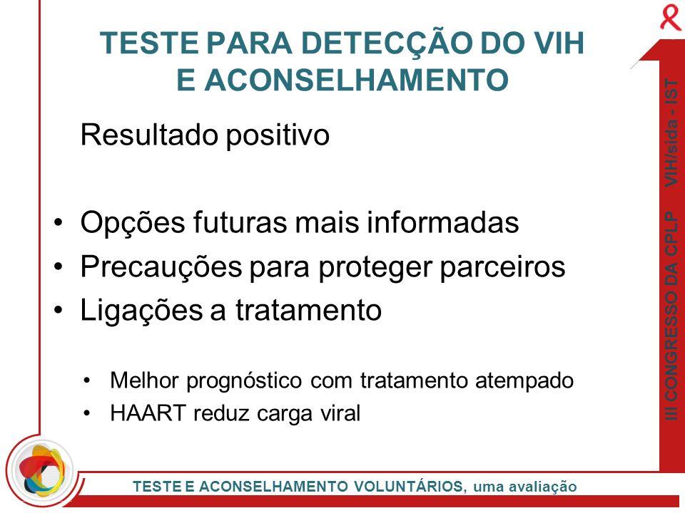 III CONGRESSO DA CPLP VIH/sida - IST TESTE E ACONSELHAMENTO VOLUNTÁRIOS, uma avaliação Resultado positivo Opções futuras mais informadas Precauções pa