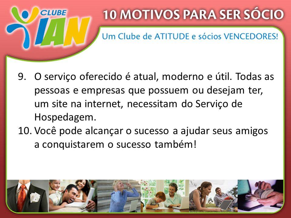 9.O serviço oferecido é atual, moderno e útil. Todas as pessoas e empresas que possuem ou desejam ter, um site na internet, necessitam do Serviço de H
